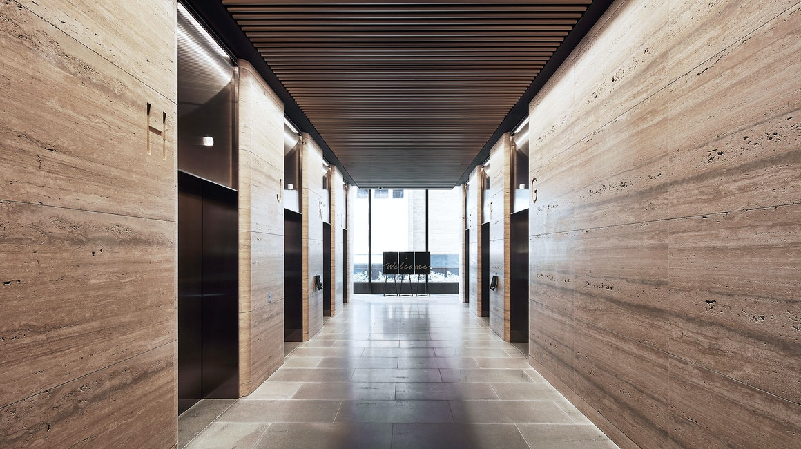 Beam floodlight and Aris medium power linear fixtures used throughout the lobbies of 1 Denison Street located in the heart of North Sydney's new CBD.