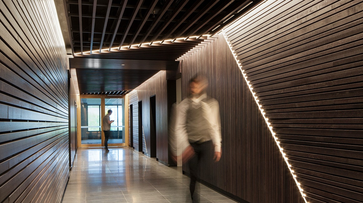 Aris LED linear floodlight in application, installed in 530 Collins Street Lobby. Architectural LED lighting.