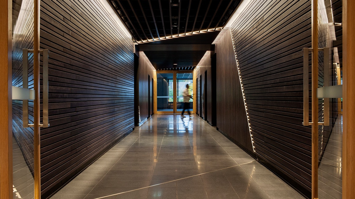 Aris LED linear floodlight in application, installed in 530 Collins Street Lobby. Architectural LED lighting