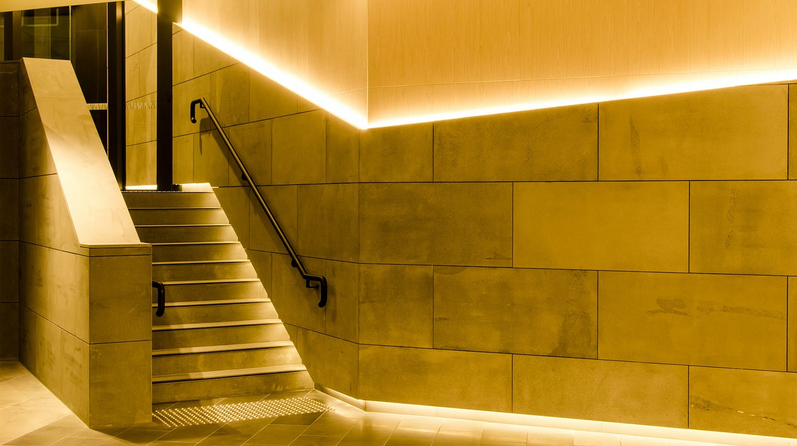 Primo X2 LED strip in application, installed throughout the lobby at 570 Bourke Street.