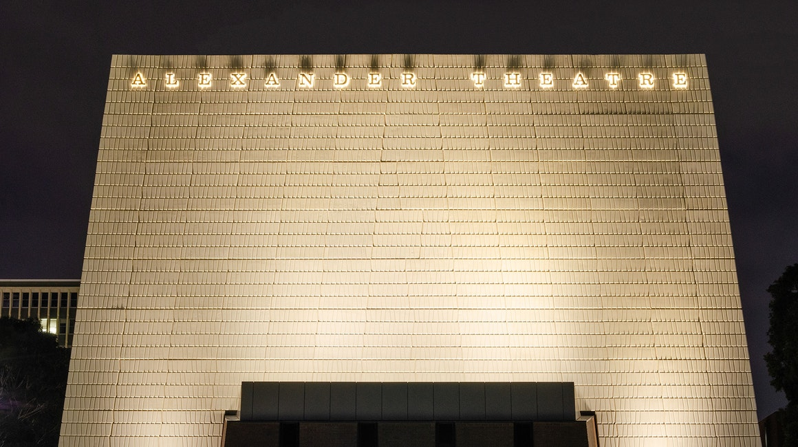 Maxis high-power linear floodlight in application, installed on the facade of the Alexander Theatre.The luminaires feature custom designed baffles that mitigate any unnecessary spill light.