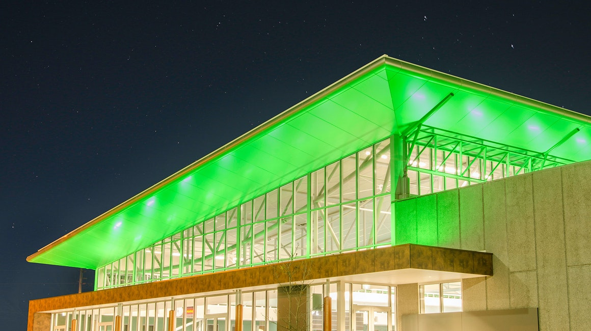 Maxis high-power linear floodlight in application, installed in The Ballarat Aquatic & Lifestyle Centre. The striking structure has quickly become a local icon.