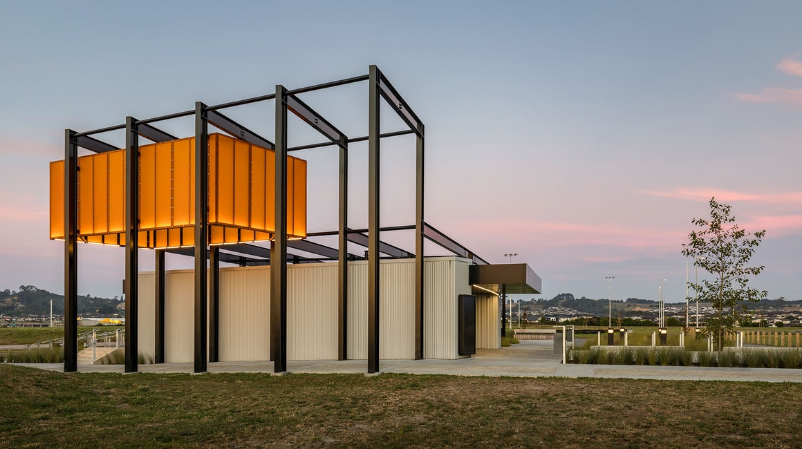 Barry Curtis Park Pavilion in Auckland, New Zealand, features Multo strip.