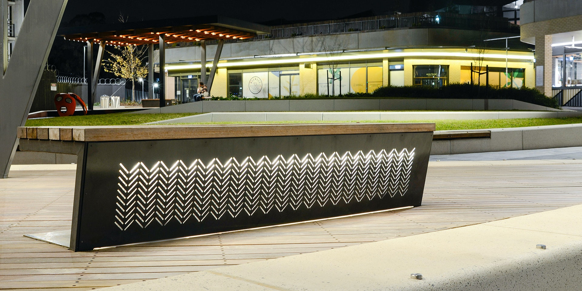 High-performance outdoor LED strip Alto IP in application, installed in Burwood Brickworks Pavilions in Melbourne. Architectural LED Lighting for outdoor applications.
