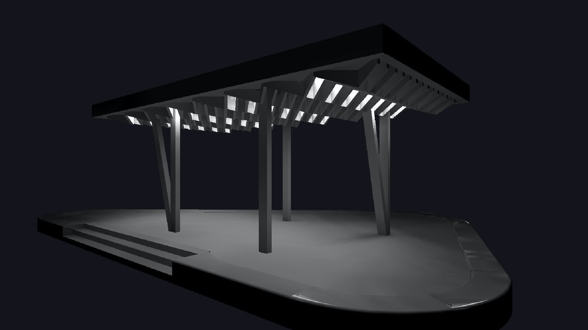 3D Lighting design concept for Burwood Brickworks Pavilions