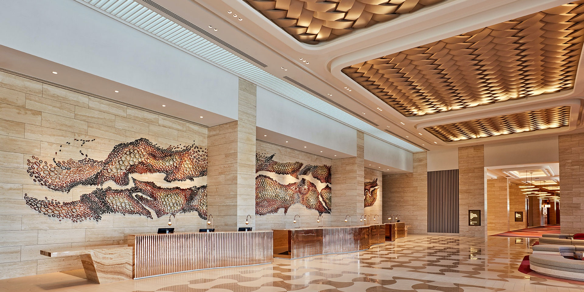 Aris LED linear floodlight in application, installed in Crown Casino in Perth. Architectural LED lighting.