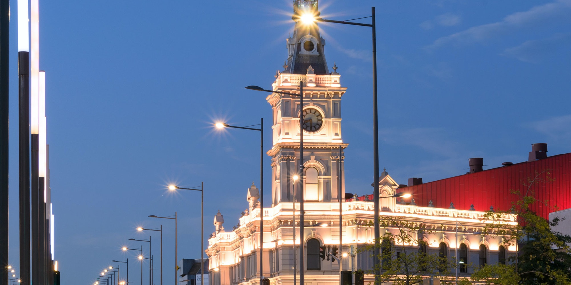 Latitude LED luminaire in application, installed on the façade of the former Dandenong Town Hall, now known as the Drum Theatre in Melbourne.