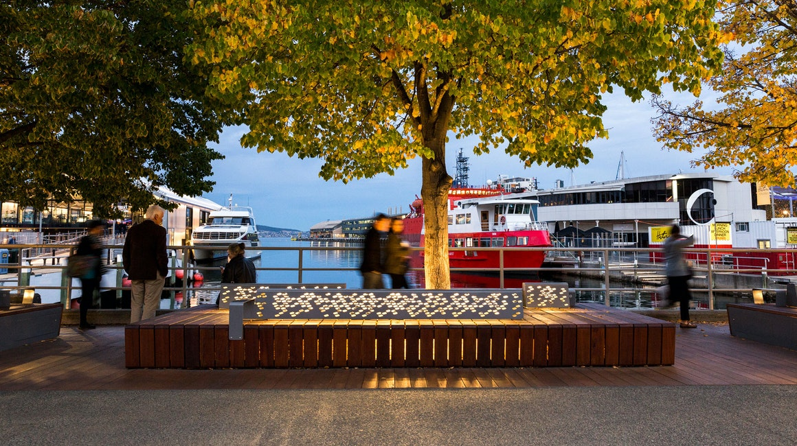 Primo X2 and Maxis UG luminaires were selected to feature light the waterfront seating and urban landscape area.