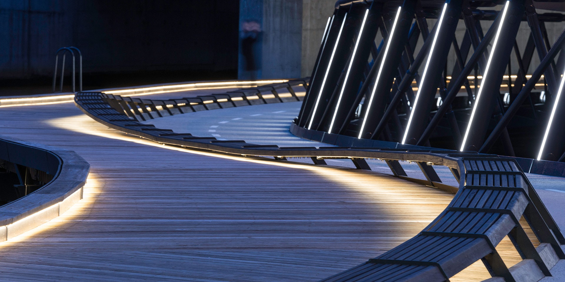 Electro IP robust outdoor LED luminaire in application, installed on the Jim Stynes Bridge in Melbourne.