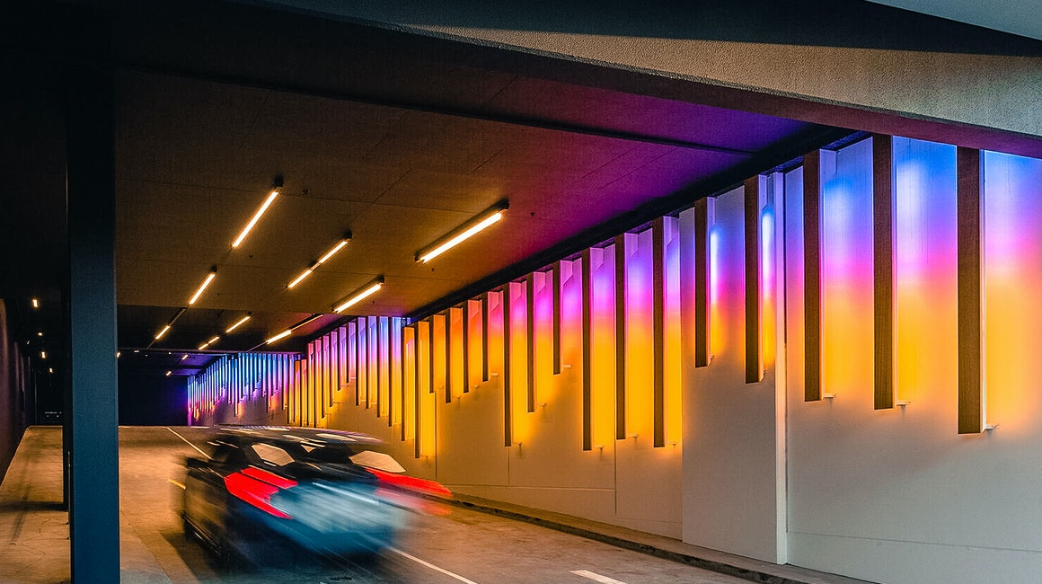 The Kishorn Road Tunnel below Cirque Apartments in Mount Pleasant is treated to a spectacular lighting installation, Chroma Flow by James Tapscott, commissioned by FORM. Max Mini Pixel IP is mounted to various lengths of Tasmanian Oak.