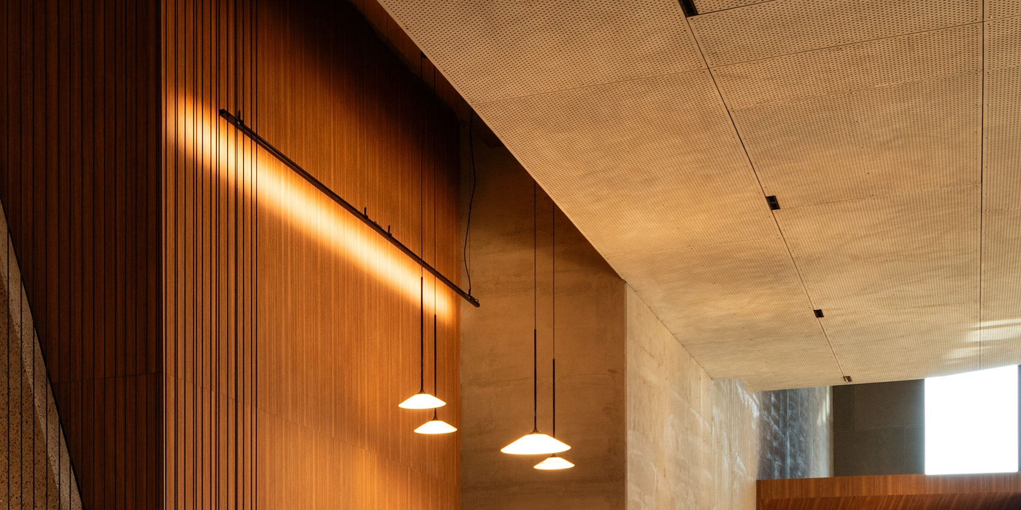 Forma compact, low-voltage LED Luminaire in application, installed in the Melbourne Conservatorium of Music.