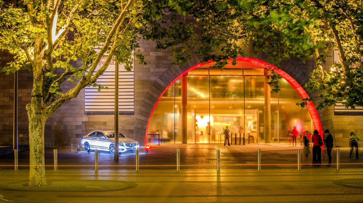Melbourne's National Gallery of Victoria received a touch of life in perfect timing with the Jean Paul GaultierExhibition. Working closely with Electrolight Melbourne, we were able to convert once a dull archway into a mesmerizing entrance