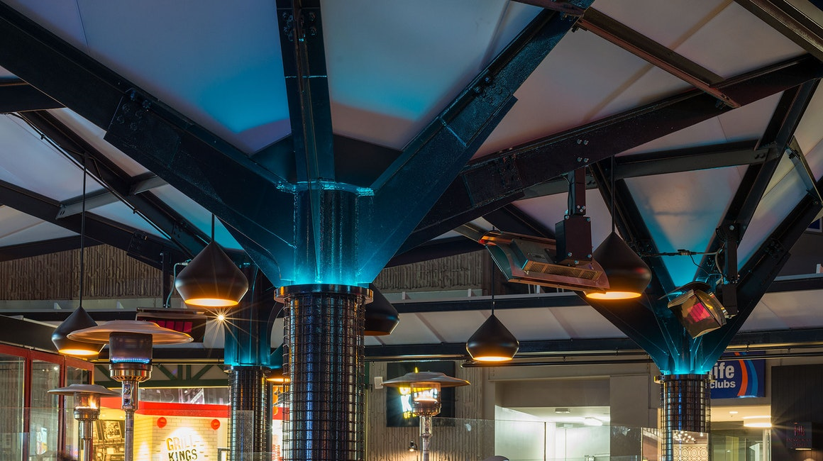 Small segments of Spectrum were all that was required to uplight the rooftop of this canopy. The segments can be tuned to different colours or programmed to run through a sequence to suit festive days or simply as an element of surprise for shoppers.