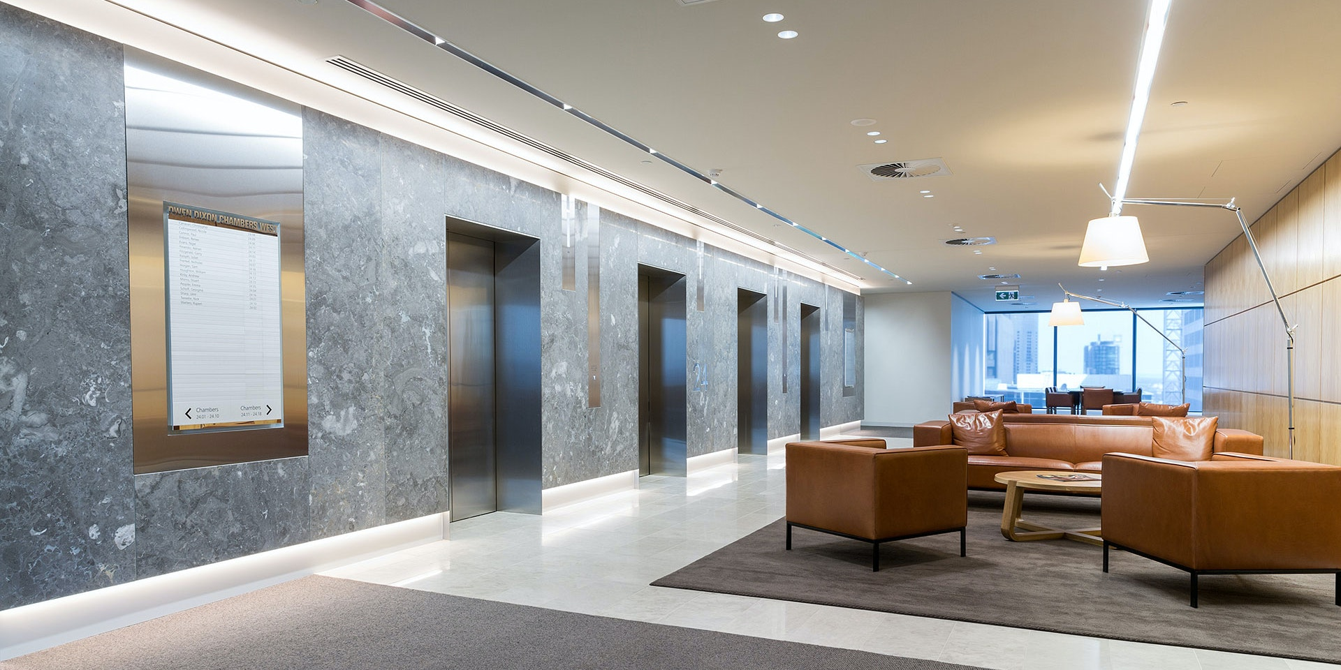 Multo LED strip in application, installed in the Owen Dixon Chambers. The clean contemporary lines were given a striking edge of even illumination using Multo in the lift lobby areas.