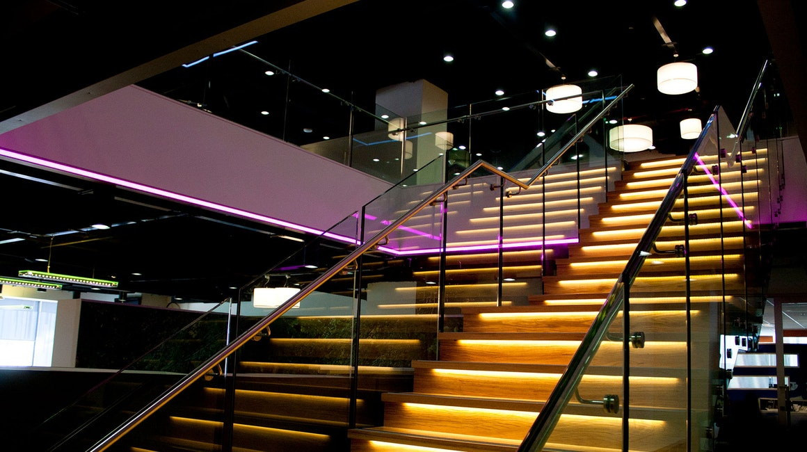 Custom colour changing RGB luminaires designed and manufactured specifically to meet the design specifications.