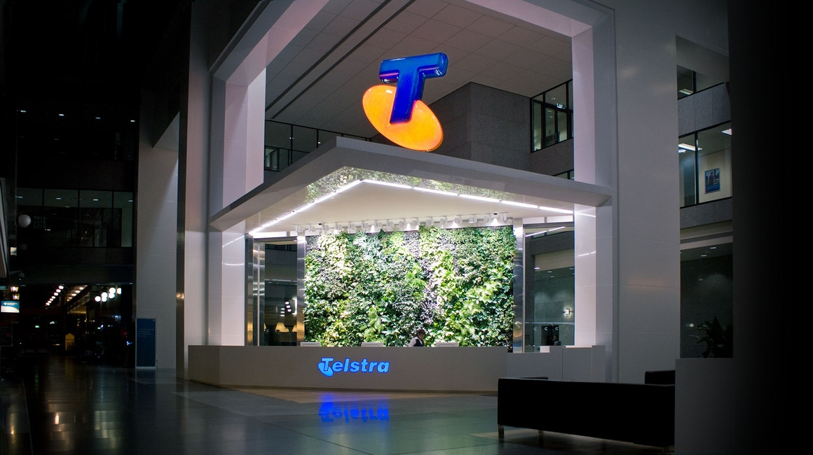 Telstra Corporate Centre at 242 Exhibition Street, Melbourne utilizes an illuminated canopy which surrounds almost three complete sides of the building.