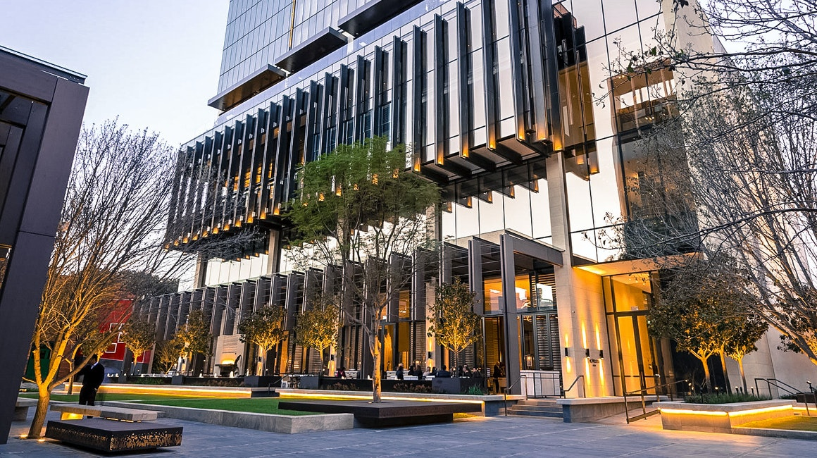 Westin Hotel Perth opened to much fanfare in late 2018. The exterior features a striking lighting design as well as a large art installation by famous street artist Rone.