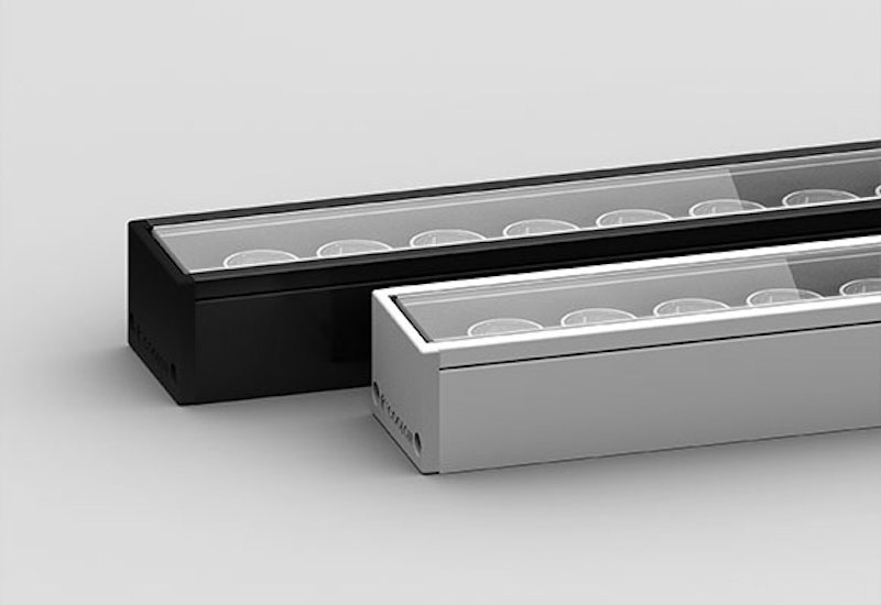 Beam is a mounted linear LED projector specifically designed to be easily installed directly under a canopy support beam with the assistance of a custom-designed mounting profile.