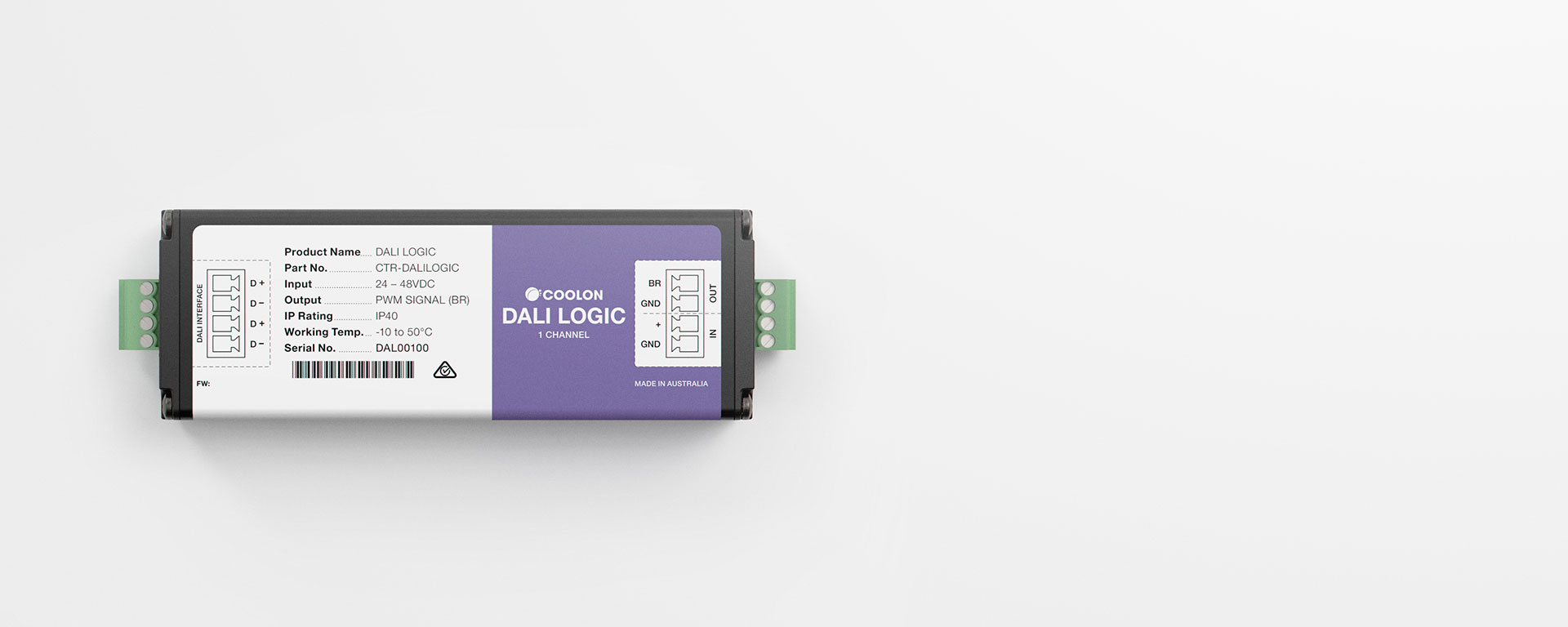 The DALI Logic driver is designed to suit DALI LED applications where using luminaries with PWM (brightness) control input. A compact design allows it to be installed in the smallest of spaces.