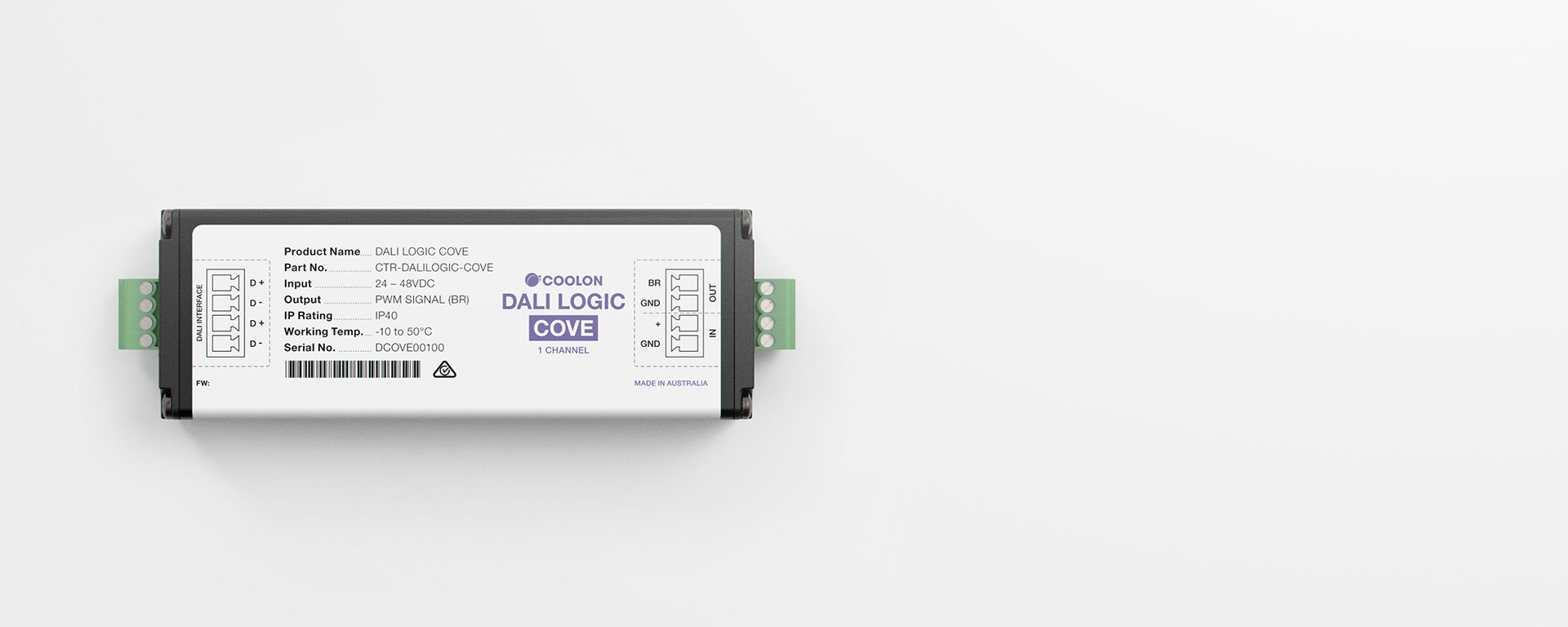 The DALI Logic Cove driver is designed to suit DALI LED applications when using Primo CC. A compact design allows it to be installed in the smallest of spaces.