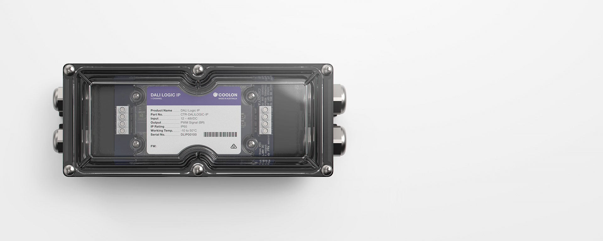 The DALI Logic IP driver is designed to suit outdoor DALI controlled LED installations, featuring a robust housing design, suitable for inclement weather.