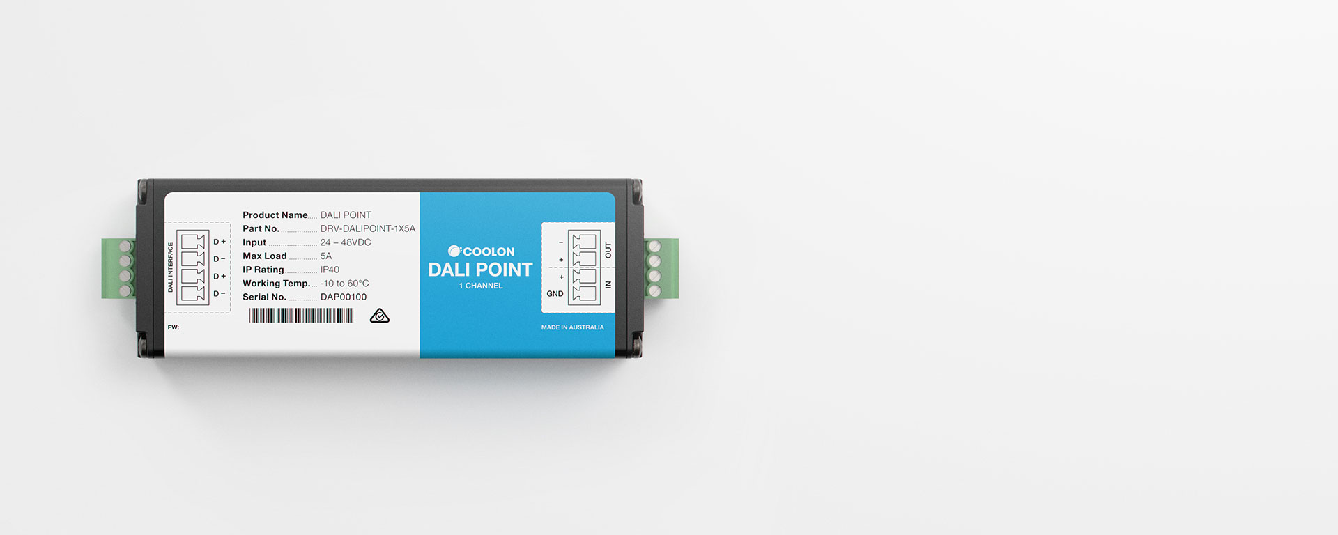 The DALI Point driver is designed to suit most indoor DALI LED applications. A compact design allows it to be installed in the smallest of spaces.