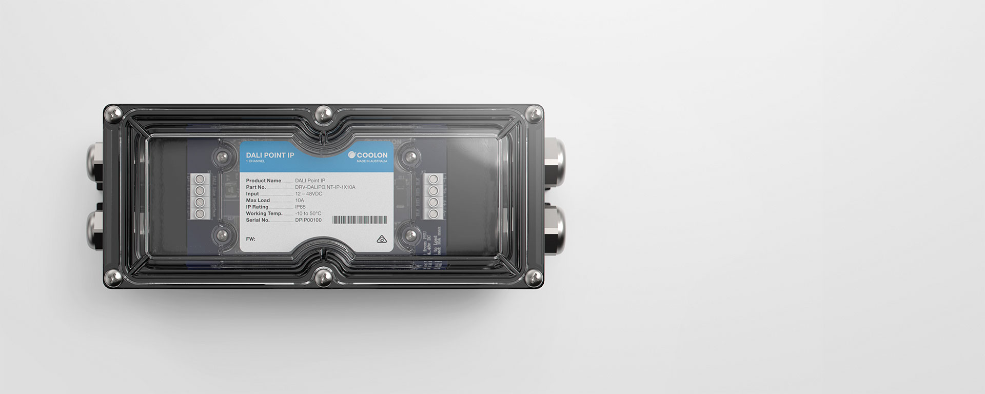 The DALI Point IP driver is designed to suit outdoor DALI controlled LED installations, featuring a robust housing design, suitable for inclement weather.