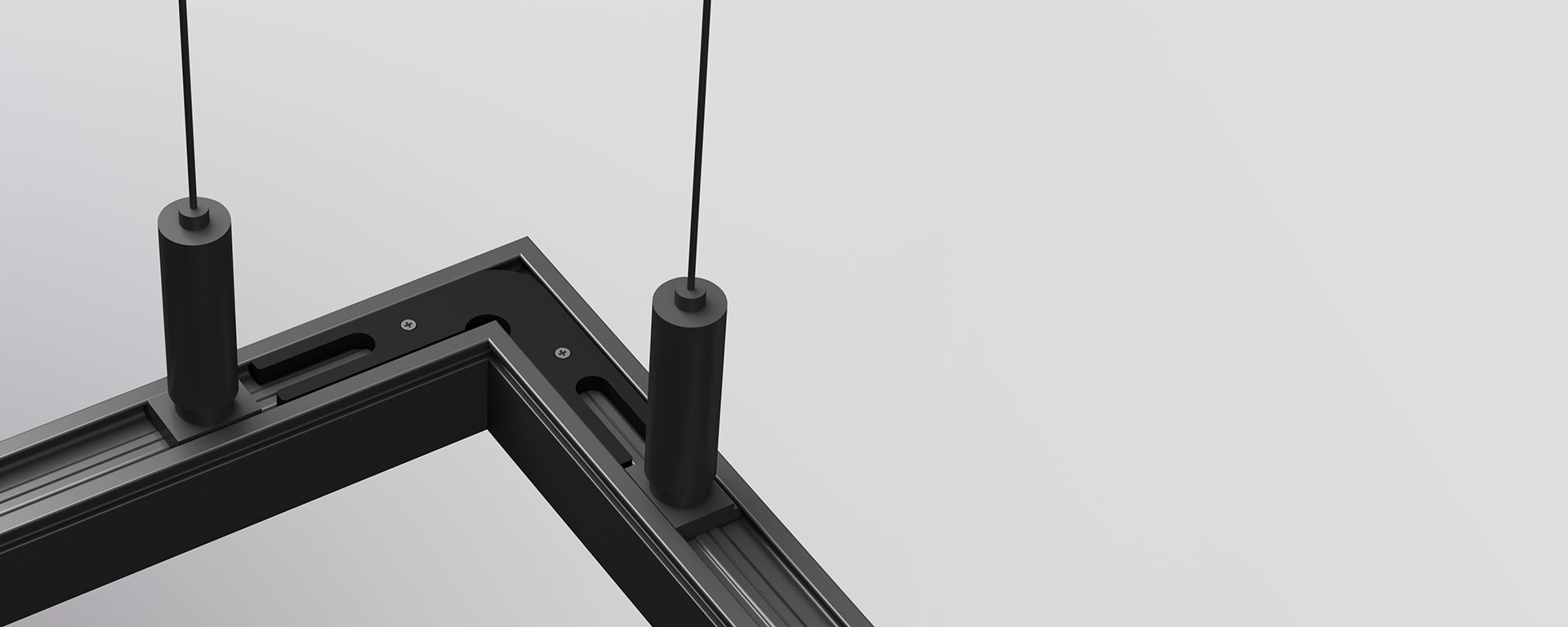 Specially designed corner locks allow for continuous illumination around 90-degree corners. Seamless corner options are available for both suspended and surface mounted fittings, enabling more flexibility to the sleek and minimal design of Forma.