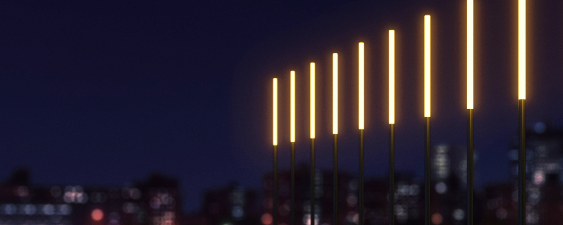 Available in a range of heights and colour temperatures, this striking marker light can provide the sculptural effect and atmosphere you choose, punctuating outdoor spaces with a seamless warm glow or pillars of clear white.
