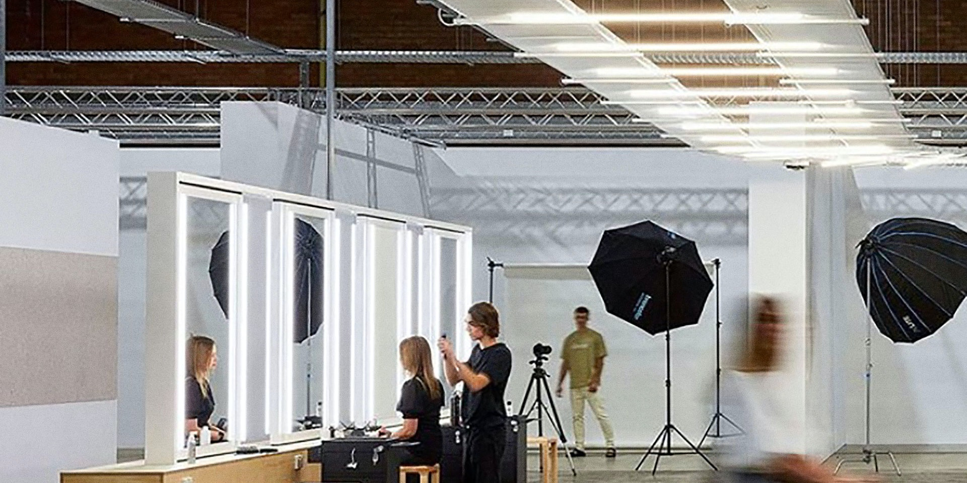Multo  compact LED strip in application, installed in a photo studio.