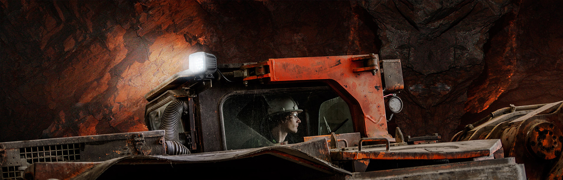 AC2 Mining Lead Light in application, installed in an underground mine