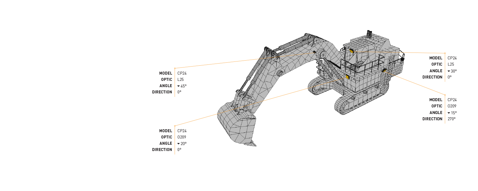 In this Lighting Design Simulation Report,  observe how the CP24 LED Floodlight transforms the light output of a Komatsu PC2000 hydraulic excavator.