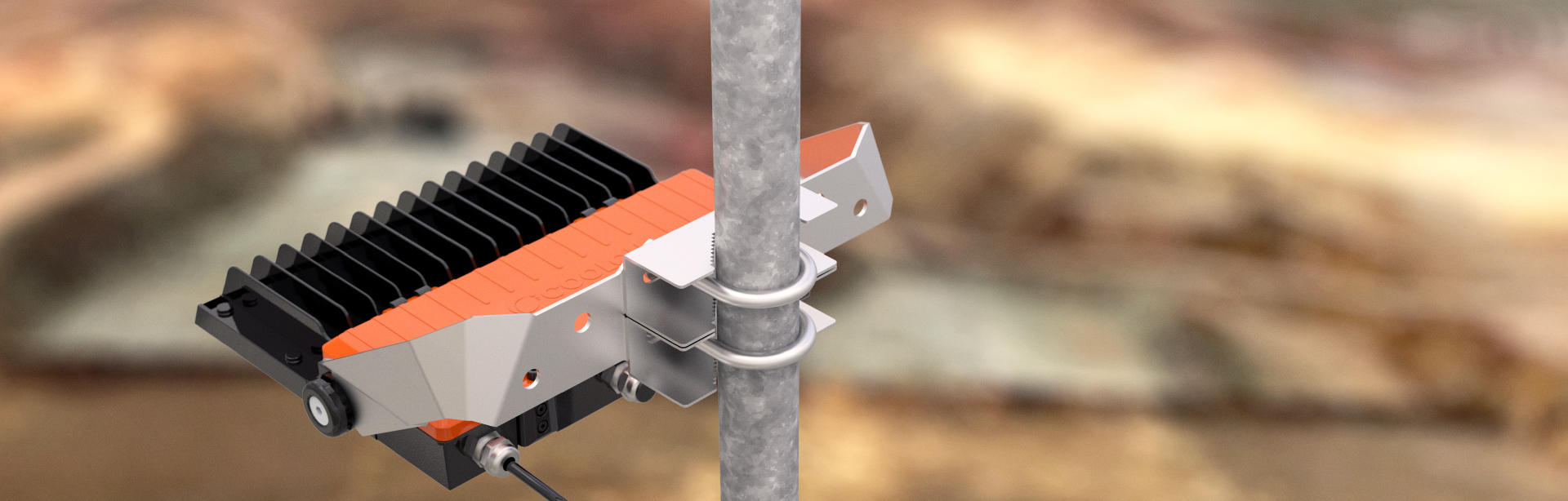 The U-Bolt Pole Mounting Clamp Kit is specifically designed for mounting products with a flat mounting surface on a variety of circular poles that are widely used in the industry.