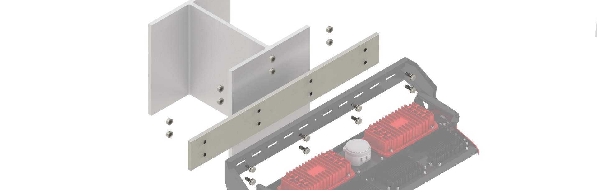 The Beam Coupling Plate is used to provide structural integrity along the length of the XBLADE™ 960 mounting bracket in applications where the entire bracket cannot be fastened to a surface.