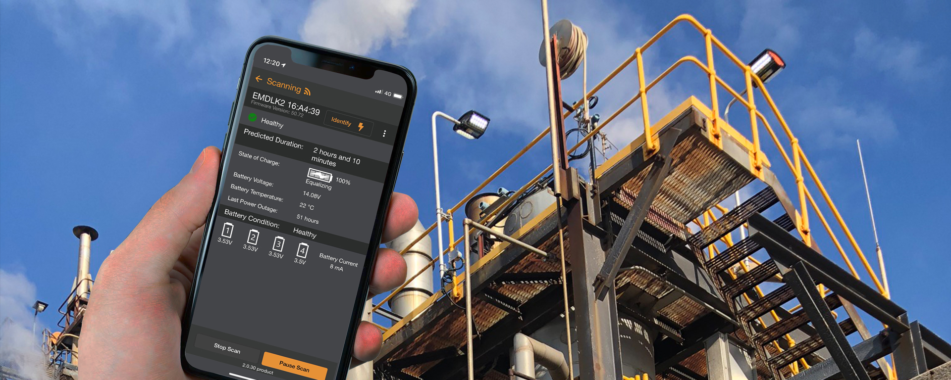 An app developed by Coolon to simplify and shorten battery checks for emergency lighting. Immediate reports on Power outages experienced by the battery Charge rates Charge capacity Battery health