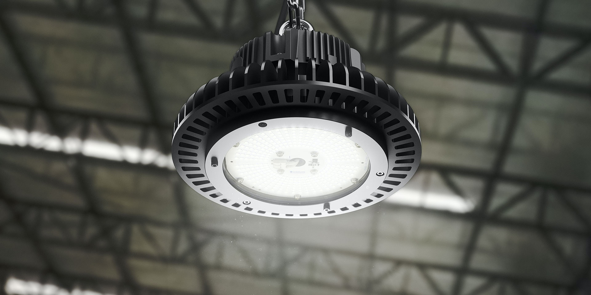 AZIZ LIGHT industrial LED High Bay luminaire in application,installed in a warehouse