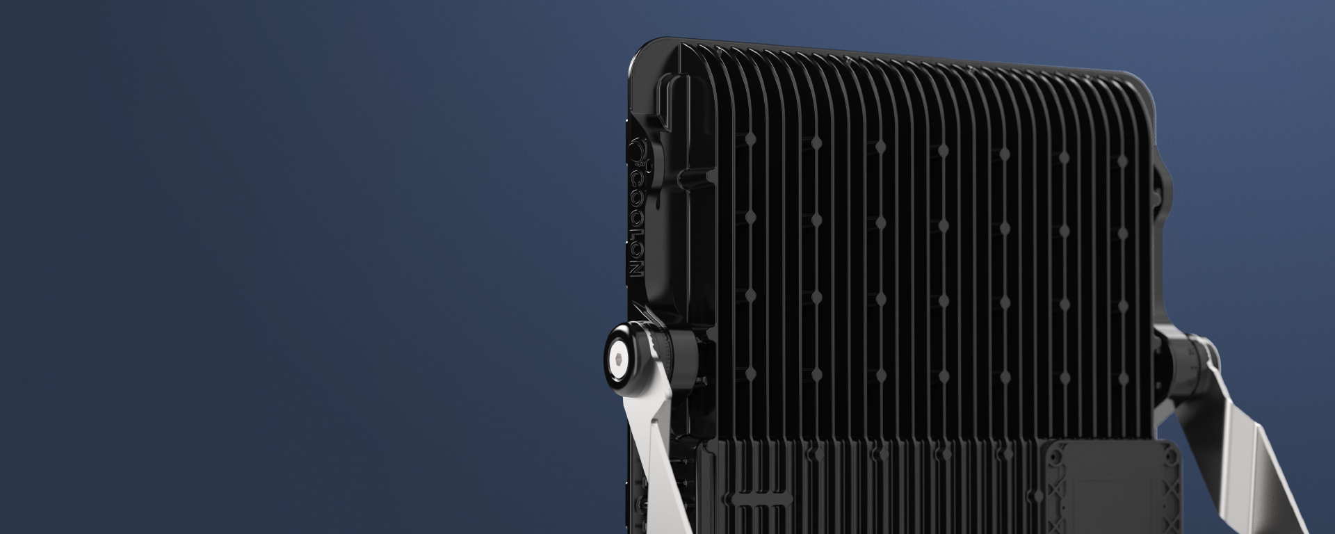 Cassidy LED mining floodlightin application,  view from the back, close up on heat sink