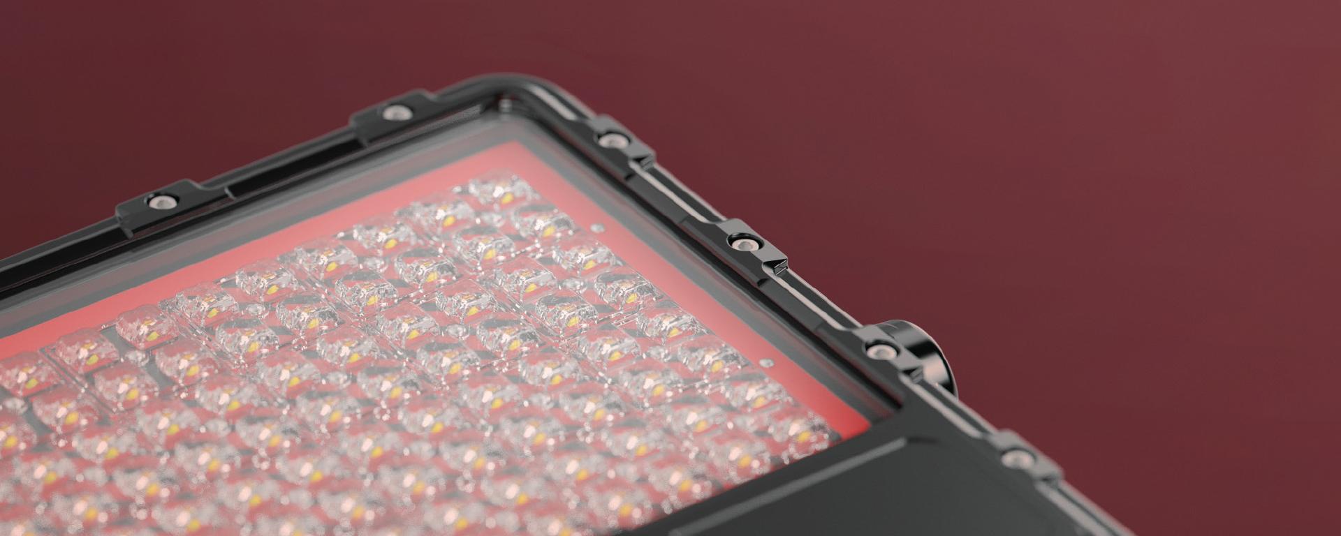 Cassidy LED mining floodlightin application, close up on beam shaping optics