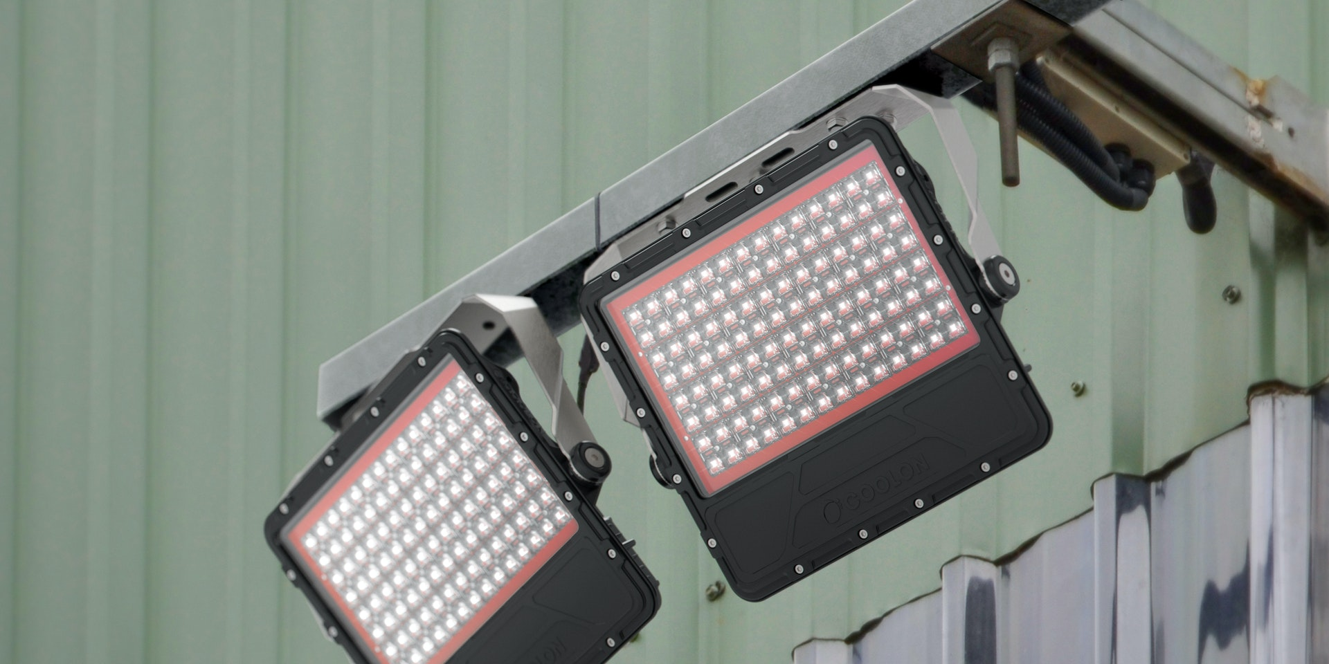 Cassidy LED Flood Light in application, installed on a mining/industrial site, mounted on a wall