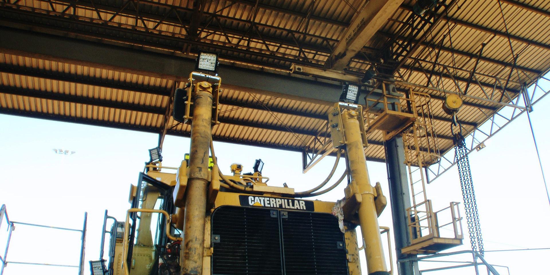 CP24 LED Flood Light in application, installed on Caterpillar D11 bulldozer / stockpile