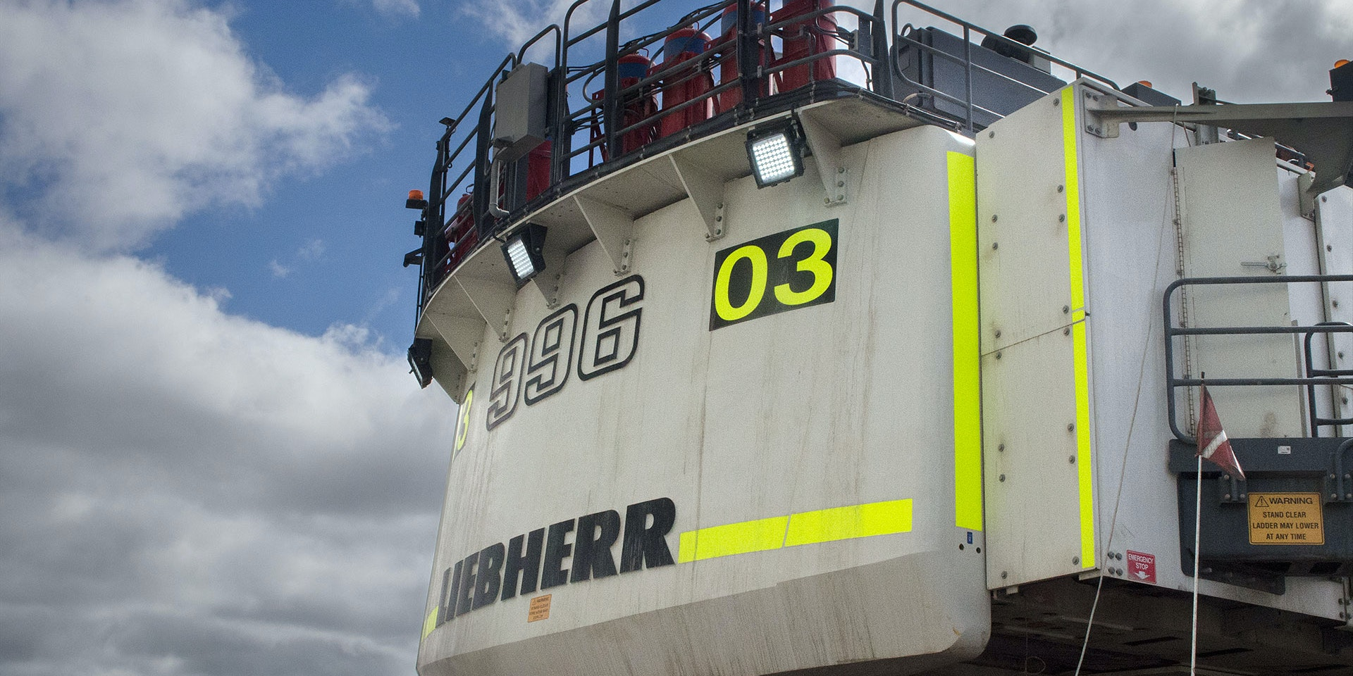 CP56 LED Flood Light in application, installed on a 996 liebherr excavator on an industrial / mine site