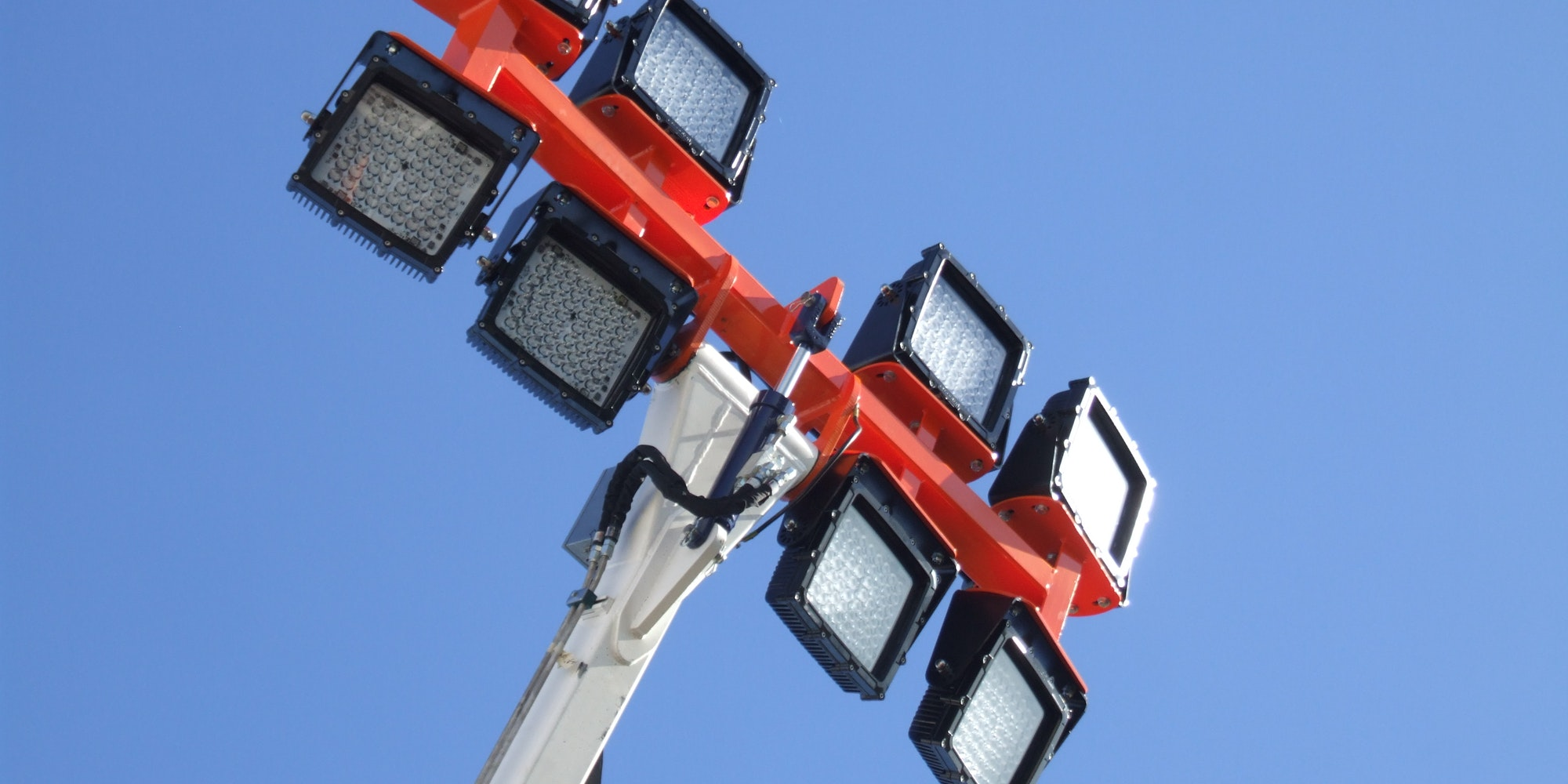 CP66 LED Flood Light in application, installed on a high mast pole on an industrial /  mine site, close up shot
