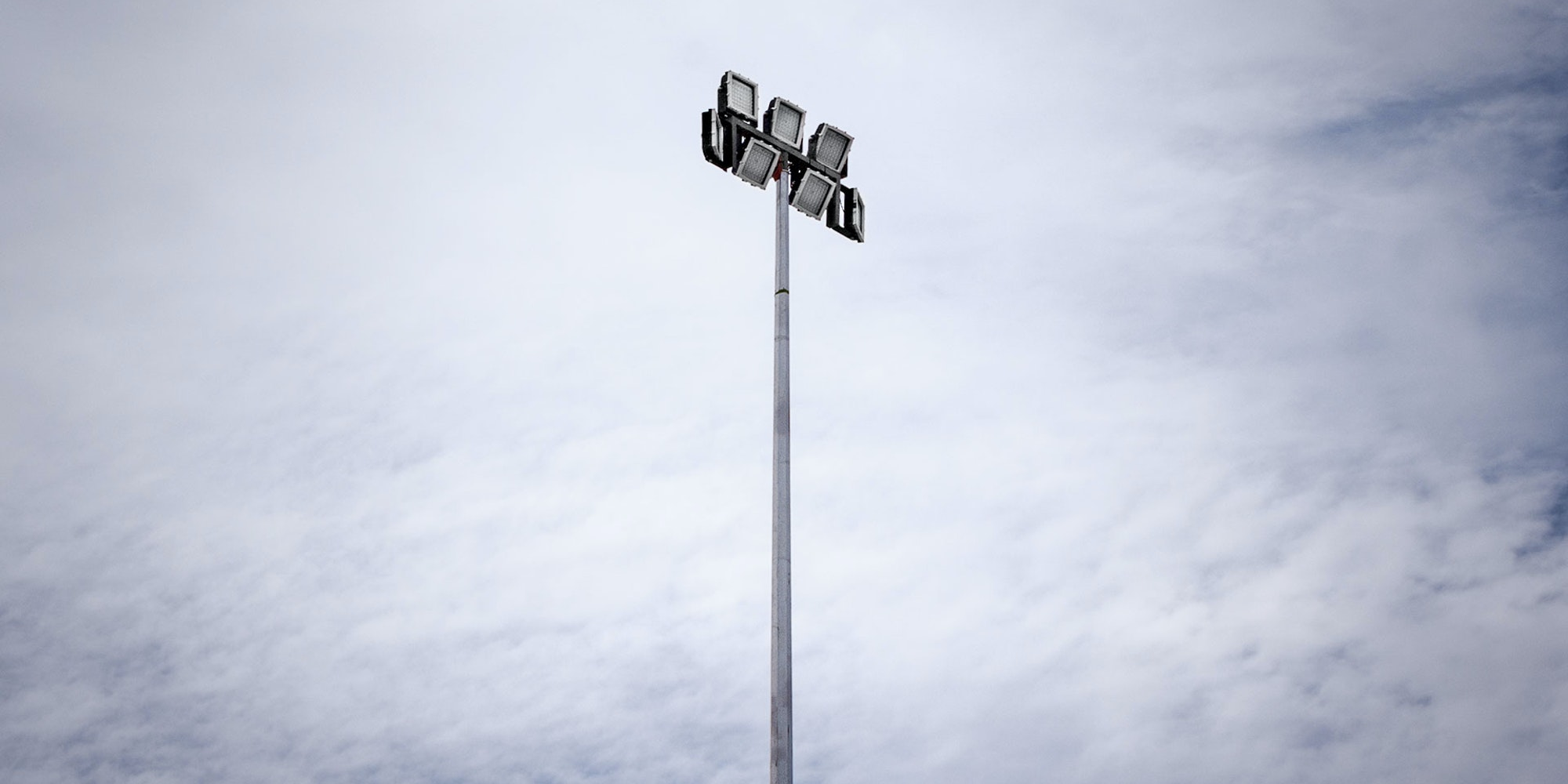 CP66 LED Flood Light in application, installed on a high mast pole on an industrial /  mine site