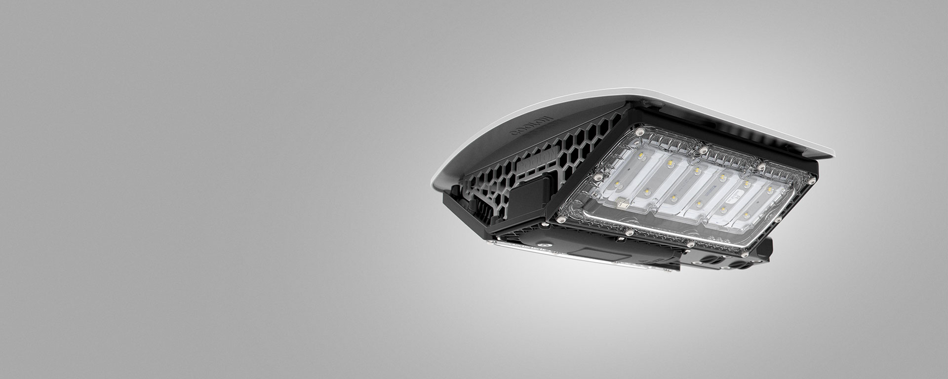 DLK LED conveyor / area light for mining and industrial applications, close up view on the body design