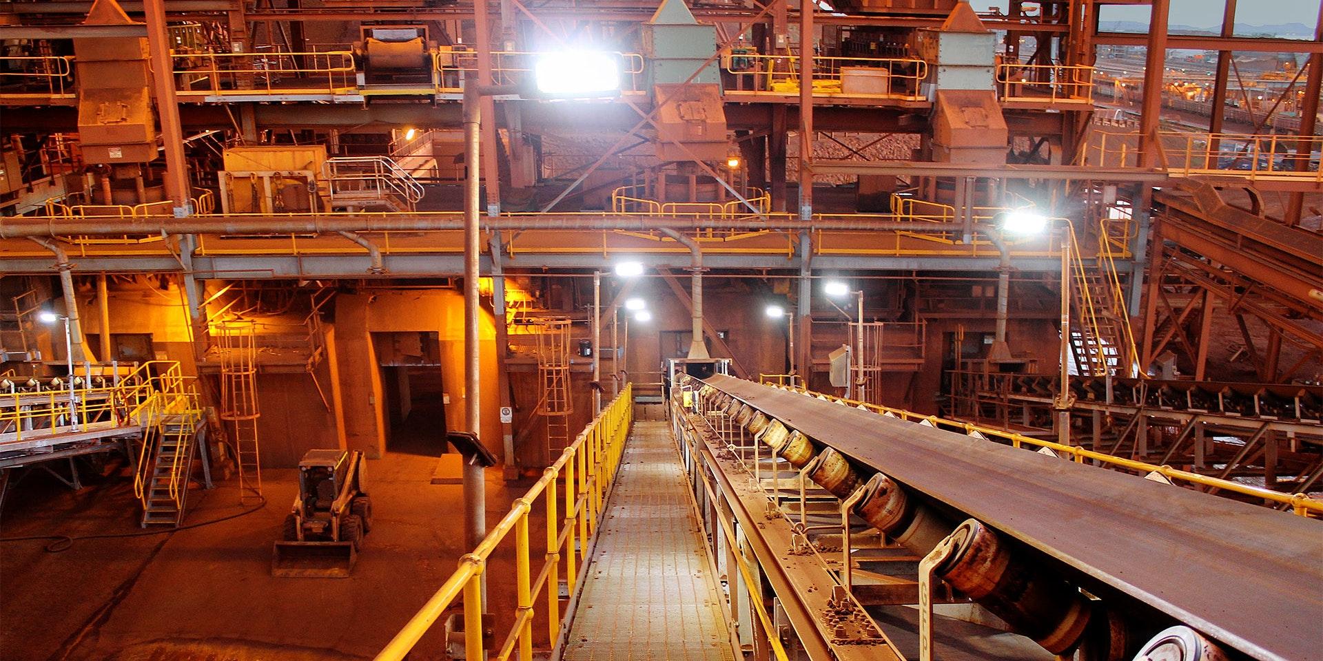 DLK LED Conveyor / Area Light in application, installed on a conveyor on an iron ore mine in bulk port