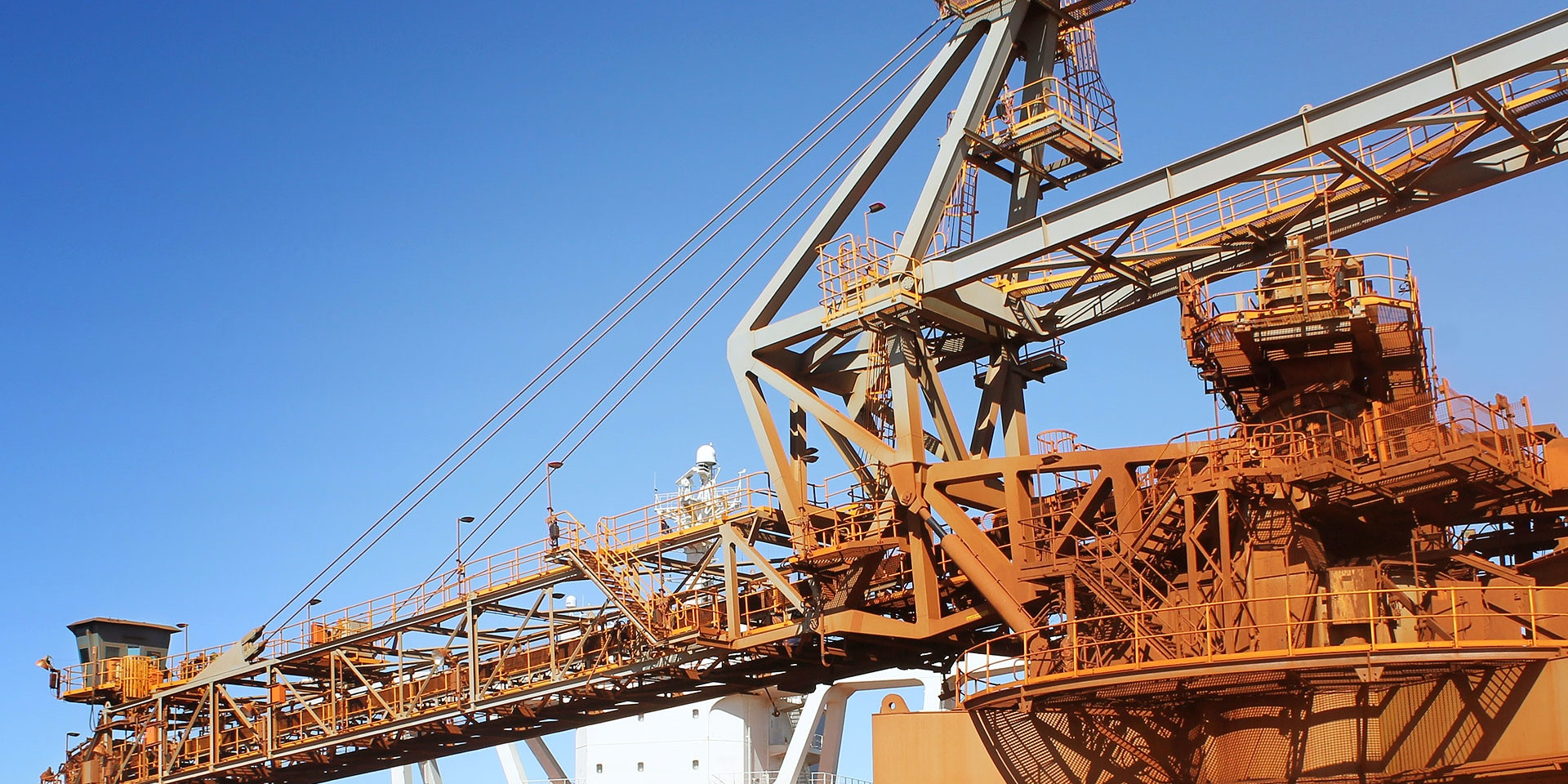DLK2 LED Conveyor / Area Light in application, installed on a ship loader on an iron ore in bulkport