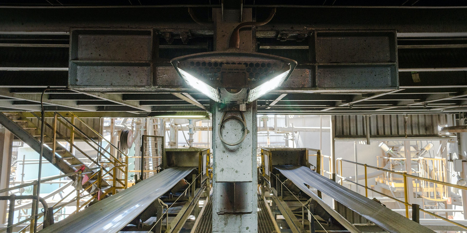 DLK LED Conveyor / Area Light in application, installed on a conveyor fixed plant,on a CHPP coal washing plant
