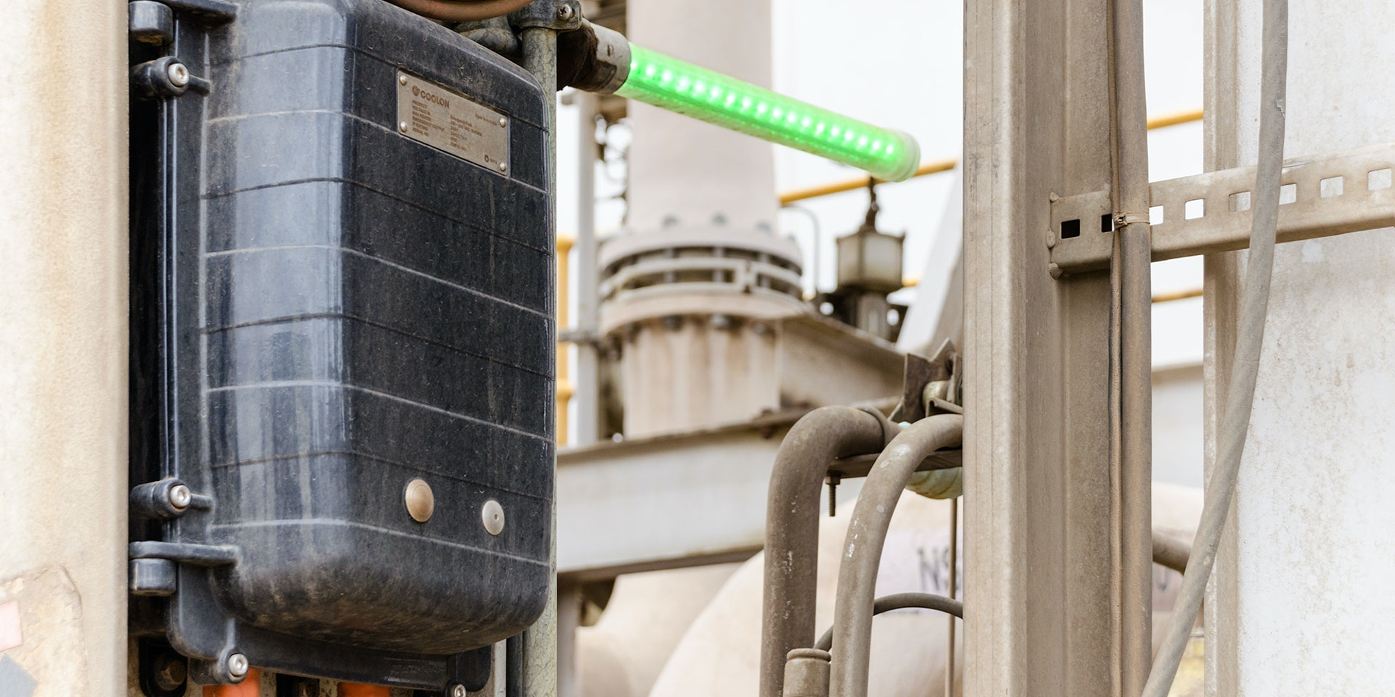 Eye Wash Station LED Safety Beacon Light in application, installed on a gold mine
