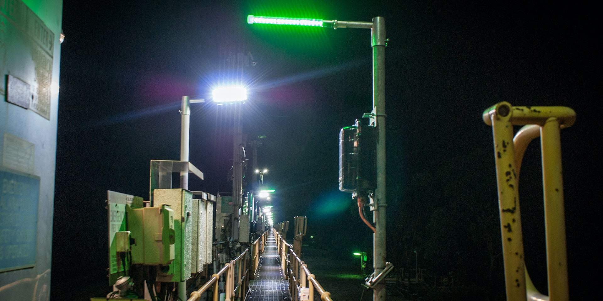 Eye Wash Station LED Safety Beacon Light in application, installed on an axis transfer station on a copper refinery