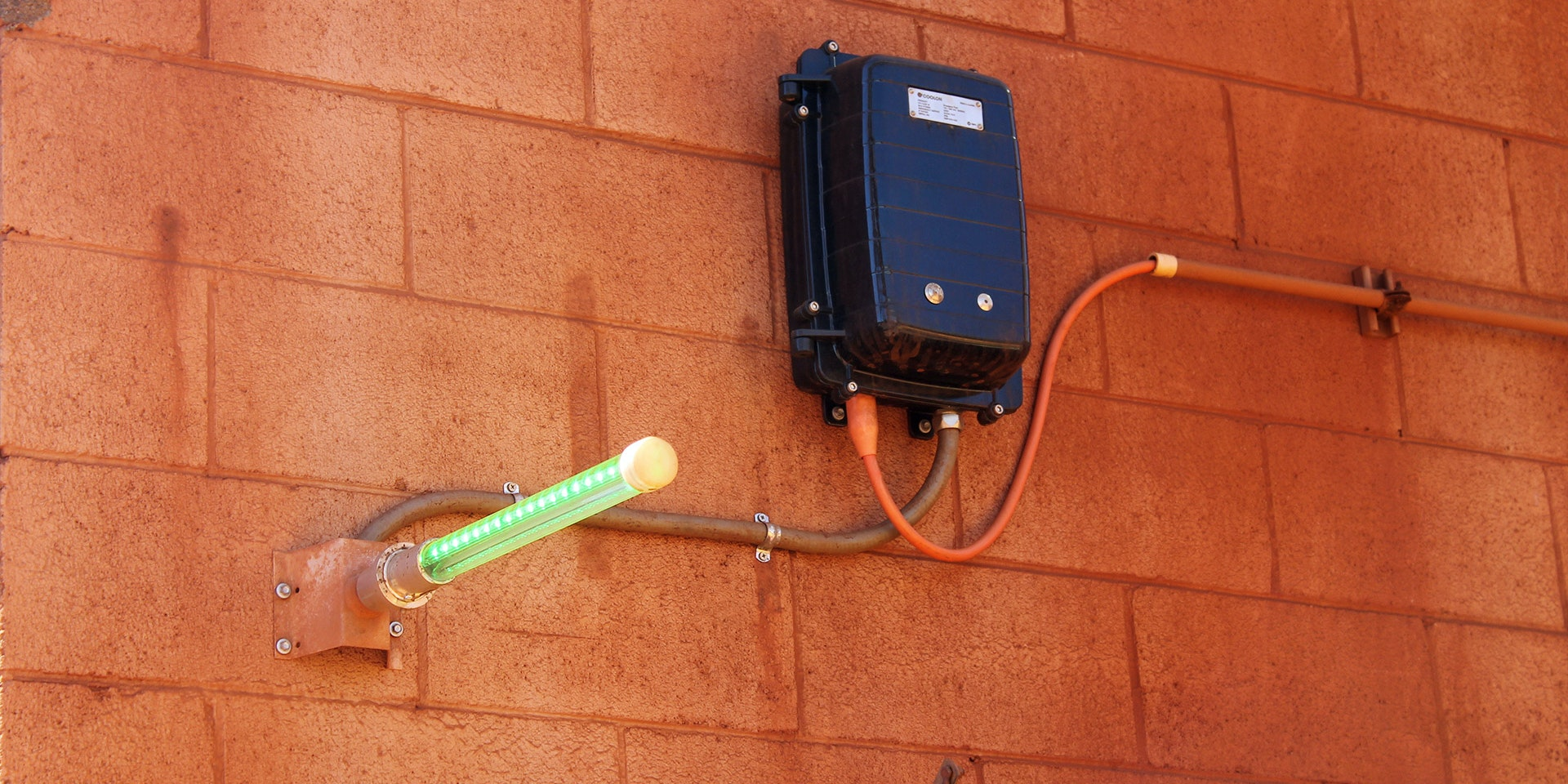 Eye Wash Station LED Safety Beacon Light in application, installed on an iron ore mine